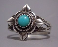 MAISEL'S Vintage NAVAJO Pawn STERLING Silver Turquoise RING W/ Hand Stamped Band #MAISELSINDIANTRADINGPOST