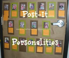 parents write three personality traits of their children on post-its and place it beneath their pictures.