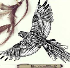 Parrot , Macaw, Bird tattoo