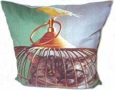 """Tabby cat bird cage funny kitty pet humor silly 2 side pillow cushion cover 18""""  #Handmade"""