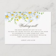 Daisy. Summer country floral wedding wishing well Enclosure Card Country Wedding Invitations, Wedding Invitation Design, Wedding Wishes, Card Wedding, Wedding Ideas, Holiday Cards, Christmas Cards, Honeymoon Gifts, Wishing Well