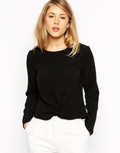 ASOS Knot Front Long Sleeve Top