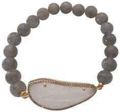 """Tai 8MM Labradorite Elastic with Irregular Shaped Moon Glass Stone Bracelet. Tai gold plated 8mm labradorite beaded stretch bracelet with irregular moonstone glass stone. bracelet length measures approx: 6""""-7.5"""" (stretches slightly) irregular glass moonstone measures approx : 1.38"""" long by .6"""" wide. bracelet will come packaged inside a box. items that are handmade may vary in size, shape and color, please use product dimensions for the most accurate description of size, photos are…"""