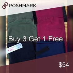 💕Plus-Bundle Leggings Special!! Buy 3 Get 1 Free--bundle includes one black, one navy, one olive and one burgundy pairs of leggings. May be substituted with charcoal or leopard print. Brushed, Fleece lined with stretch. 92% polyester 8% spandex. OSFA Pants Leggings