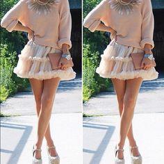 Grey sweater, white tulle skirt, JC rose 4 evz