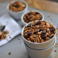 Just eight ingredients and under 40 minutes in the oven for homemade gluten free granola with dried cherries and chocolate.