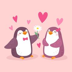 Adorable Penguins, 80 Best Free Graphics on Freepik Pinguin Illustration, Cute Illustration, Valentines Greetings, Valentines Day, Penguin Love Quotes, Penguin Drawing, Love Heart Images, Chibi Cat, Cute Baby Bunnies