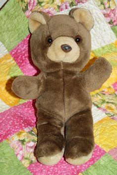 "Brown Tan Teddy Bear plush stuffed animal soft toy 12"" Vtg No tag Flocked Nose #Unknown #VintageTeddyBear #StuffedAnimal #SoftToy #FlockedNoseBear"