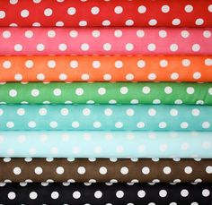 Great basics to keep in your fabric stash. Dottie Dots by Moda Fabrics! Fat quarter of each fabric shown, 8 total. Dottie Dots in Christmas Red