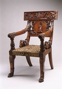 Armchair (part of a set)  Maker:Charles Dixwell Date:ca. 1820 Culture:British Medium:Mahogany, leopard-skin upholstery original to the chair Dimensions:H. 43-3/4 x W. 27-13/16 x D. 29-1/2 in. (111.1 x 70.6 x 74.9 cm)