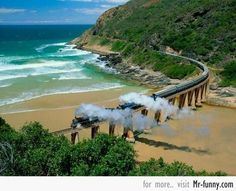 Outeniqua Choo-Tjoe Steam Train Crossing Dolphin Point, Near Wilderness, South Africa