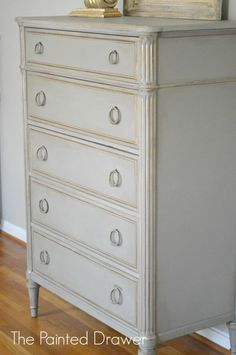 Davis Cabinet Co. Chest from www.thepainteddrawer.com - French Linen with gold highlights. - Amazing before & after