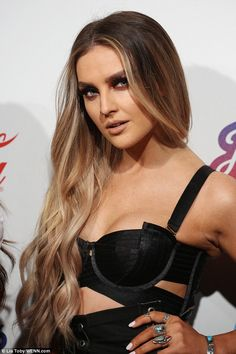Perrie Edwards rocks satin bralet with Little Mix at Jingle Bell Ball #dailymail