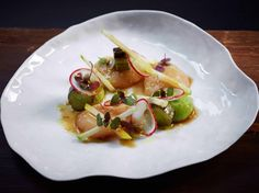 Scallops, yuzu dressing, soy, cucumber, and apple, at 22 Ships in Hong Kong