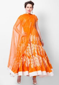 Rohit Bal For Jabong - Hand Block Printed Stitched Detailed Yoke Anarkali Co-Ordinated Set