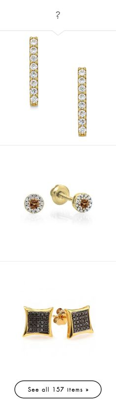 """""""💍"""" by taytay0258 ❤ liked on Polyvore featuring jewelry, earrings, yellow gold, gold jewellery, yellow gold stud earrings, cz stud earrings, gold cubic zirconia earrings, glitter earrings, yellow and screw back earrings"""