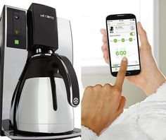 For those that need to know the coffee is coming before they even get out of bed, there's the Belkin WeMo-powered Mr. Coffee 10-Cup Smart Optimal Brew Coffeemaker ($150), which works with Apple and Android devices. It lets you schedule brew times in advance from the comfort of your phone, and it'll even alert you when you need to change the filters.
