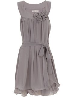 gray ruched flower dress love hoe it wraps around the middel and ties in the front . cute flower dress should sell for 50 - 60 dollers