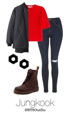 """I NEED U Inspired: Jungkook"" by btsoutfits ❤ liked on Polyvore featuring Topshop, Carven, Dr. Martens and Marc by Marc Jacobs"