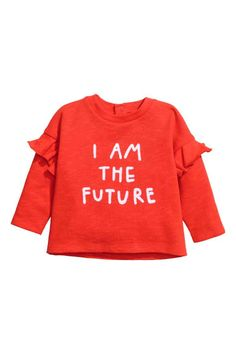 Top in soft slub-textured sweatshirt fabric with a flock print on the front, press-studs at the back of the neck and long sleeves with a frill. Baby Girl Sweaters, Zara Baby, H&m Online, Fashion Colours, Trends, Bright, Printed Sweatshirts, Fashion Kids, Kind Mode