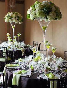 Martini vases | white and green centrepiece