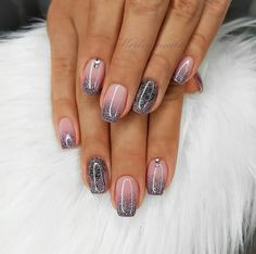 Image may contain: one or more people and closeup nail art designs 2019 elegant nail designs for short nails holiday nail stickers self adhesive nail stickers best nail polish strips 2019 Fancy Nails, Love Nails, How To Do Nails, My Nails, Glitter Nails, Purple Glitter, Silver Glitter, Acrylic Nail Designs, Nail Art Designs