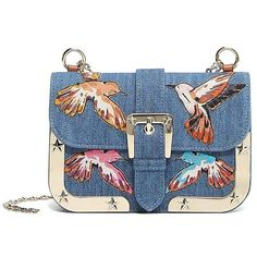 REDValentino Embroidered Cross Body Bag (1.745 BRL) ❤ liked on Polyvore featuring bags, handbags, shoulder bags, blue, blue purse, crossbody handbags, crossbody purses, embroidered purse and chain shoulder bag