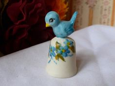 Vintage Thimble Blue Bird Signed Thimble by vintagelady7 on Etsy, $9.99 The bluebird of happiness.
