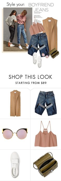 """""""Boyfriend Jeans: How to Style"""" by solespejismo ❤ liked on Polyvore featuring Alexander Wang, Sandro, Fendi, TIBI, Acne Studios and Carven"""