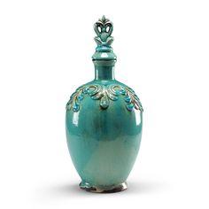 Teal Antique Crackle Glazed Ceramic Jar with Stoppper
