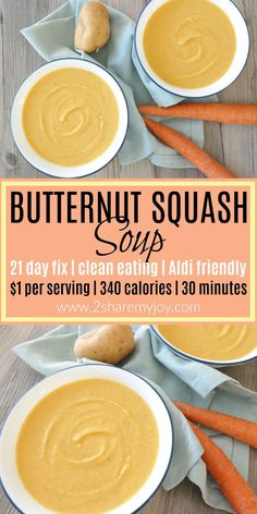Super healthy 21 Day Fix Butternut Squash Soup that contains only 340 calories per serving and is 21 day fix approved. Perfect easy and frugal fall dinner that is done in 30 minutes and costs only $1 per serving.