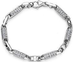 Men's 14K White Gold & Diamond Bracelet
