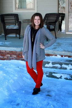 My New Favorite Outfit: Perspective Red Trousers, Pants, Friends Mom, Plaid Scarf, Plus Size Outfits, Perspective, Autumn Fashion, Polka Dots, Cute Outfits