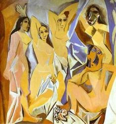 Cubism was a century avant-garde art movement, pioneered by Pablo Picasso and Georges Braque. This painting is Les Demoiselles D' Avignon by Picasso. Pablo Picasso, Art Picasso, Picasso Paintings, Picasso Style, Cubist Paintings, Watercolor Paintings, Picasso Sketches, Picasso Drawing, Cubism Art