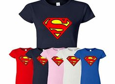 SnS Online Superman Womens Ladies Girls Fitted Tee T-shirt Sweatshirt Top New Design Super man T Shirt - Light Quality T shirts, Professionally Printed, Fast Dispatch, Great for Gifts, Casual amp