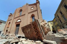 The cathedral of Mirandola damaged by the earthquake in Emilia-Romagna