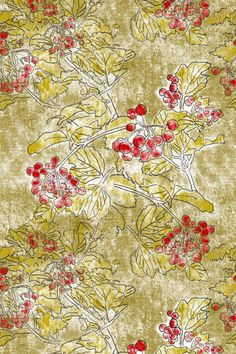 Viburnum, designed by Herbal Things, Sabina Kulicka. Botanical pattern for farbic and wallpaper, production on demand by Spoonflower. Living Styles, Spoonflower, Fabric Design, Herbalism, Fabrics, Rugs, Wallpaper, Pattern, Painting