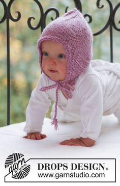 Sweet pixie / DROPS baby - free knitting patterns by DROPS design - Sweet Pixie / DROPS Baby – Knitted hat for babies and children in 2 threads DROPS Alpaca - Baby Knitting Patterns, Baby Hats Knitting, Free Knitting, Knitted Hats, Crochet Hats, Baby Bonnet Pattern Free, Crochet Baby Bonnet, Free Pattern, Beanie Babies