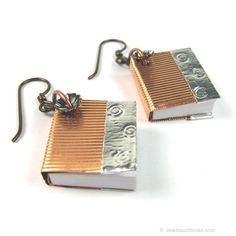 "Book Earrings by michellemach, via Etsy. Part of my ""Write Away"" Treasury, with lots of great gift ideas for writers or the literary-minded:   http://www.etsy.com/treasury/Njc0NDA2NXwyNzIzMzg5OTE0/write-away"