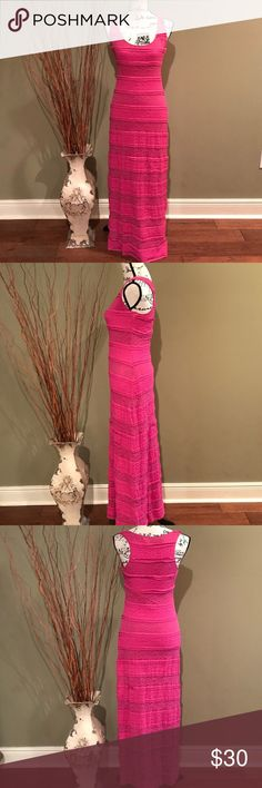 "HP Chelsea & Violet Lace Maxi Dress Chelsea & Violet Lace Maxi Dress.  Tiered pink lace dress; fully lined.  Length from shoulder to hem line is 59"".  52% Nylon, 40% Cotton, 8% Spandex.  Size small.  In great pre-owned condition.  Bust measures 34"" waist 28"".  Bust stretches to 40"" and waist stretches to 38"". Chelsea & Violet Dresses Maxi"