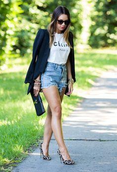 Black Blazer and Denim Shorts Outfit Idea