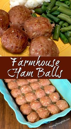 Farmhouse Ham Balls are one of our family's most unique recipes for parties and special meals. Our family ham ball recipe is moist and glazed with a sauce that is slightly sweet and tangy. These ham balls are a delicious treat! Meatball Recipes, Pork Recipes, Cooking Recipes, Recipies, Sausage Recipes, Cake Recipes, Ham Balls, Appetizer Recipes, Dinner Recipes
