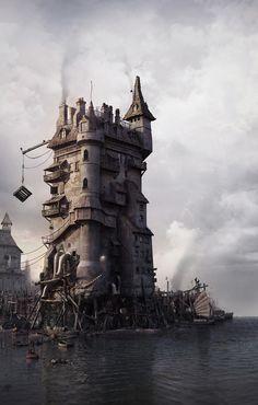 "Aleksandar Jovanovic - Harbour (Perfect for Gamma World/A D & D mix I called ""Wizards,"" based on the Bakshi film.)"