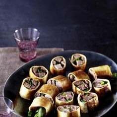 Peking Duck Rolls Recipe Main Dishes with duck breasts, spring onions, tortilla wraps, hoisin sauce, oil