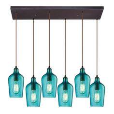 Elk Lighting Hammered Glass 6 Light Pendant in Oil Rubbed Bronze And Aqua Glass