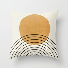 Gold Sun rainbow mid-century full Throw Pillow by MoonlightPrint - Cover x with pillow insert - Indoor Pillow Modern Throw Pillows, Gold Pillows, Couch Pillows, Designer Throw Pillows, Accent Pillows, Decorative Pillows, Modern Pillow Covers, Living Room Pillows, Mid Century Decor