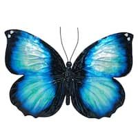Shop for Handmade Metal and Capiz Dragonfly Wall Decor. Get free delivery On EVERYTHING* Overstock - Your Online Art Gallery Shop! Butterfly Wall Decor, Blue Butterfly, Watercolor Pattern, Floral Watercolor, Black Wall Decor, Painted Rocks, Hand Painted, Butterfly Drawing, Butterfly Tattoos