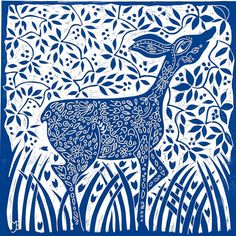 linocut Doe Deer blue printmaking home interior by linocutheaven