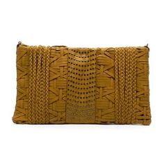 New Mustard colored leather strap clutch