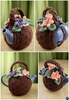 Knit Flower Basket Tea Cozy Free Pattern-20 Crochet Knit Tea Cozy Free Patterns